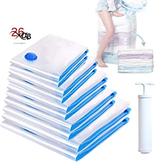 26Alphabets Vacuum Storage Reusable Space Saver Bags With High Quality Plastic Material for clothes and fabric containing 1pack-XL(60X80) 2Pack-Large(50X70) and 2 Pack Medium(40X60) with free pump for Travellers and Space Organiser