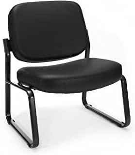 ad5378423 Big and Tall Vinyl Armless Guest   Reception Chair Seat   Back Color  Black