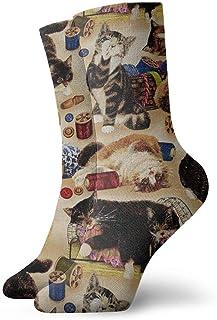 yting, Niños Niñas Locos Divertidos Curiosos Gatos y Nociones de Costura Calcetines Marrones Calcetines Lindos de Novedad