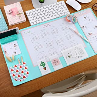 Desk Pad with 2019 Calendar, Aisakoc 25.6'' x 12.6'' Waterproof Desk Mouse Pad Multifunction Desk Mat with Phone Holder, Pockets and Planner Cards (Mint Green)