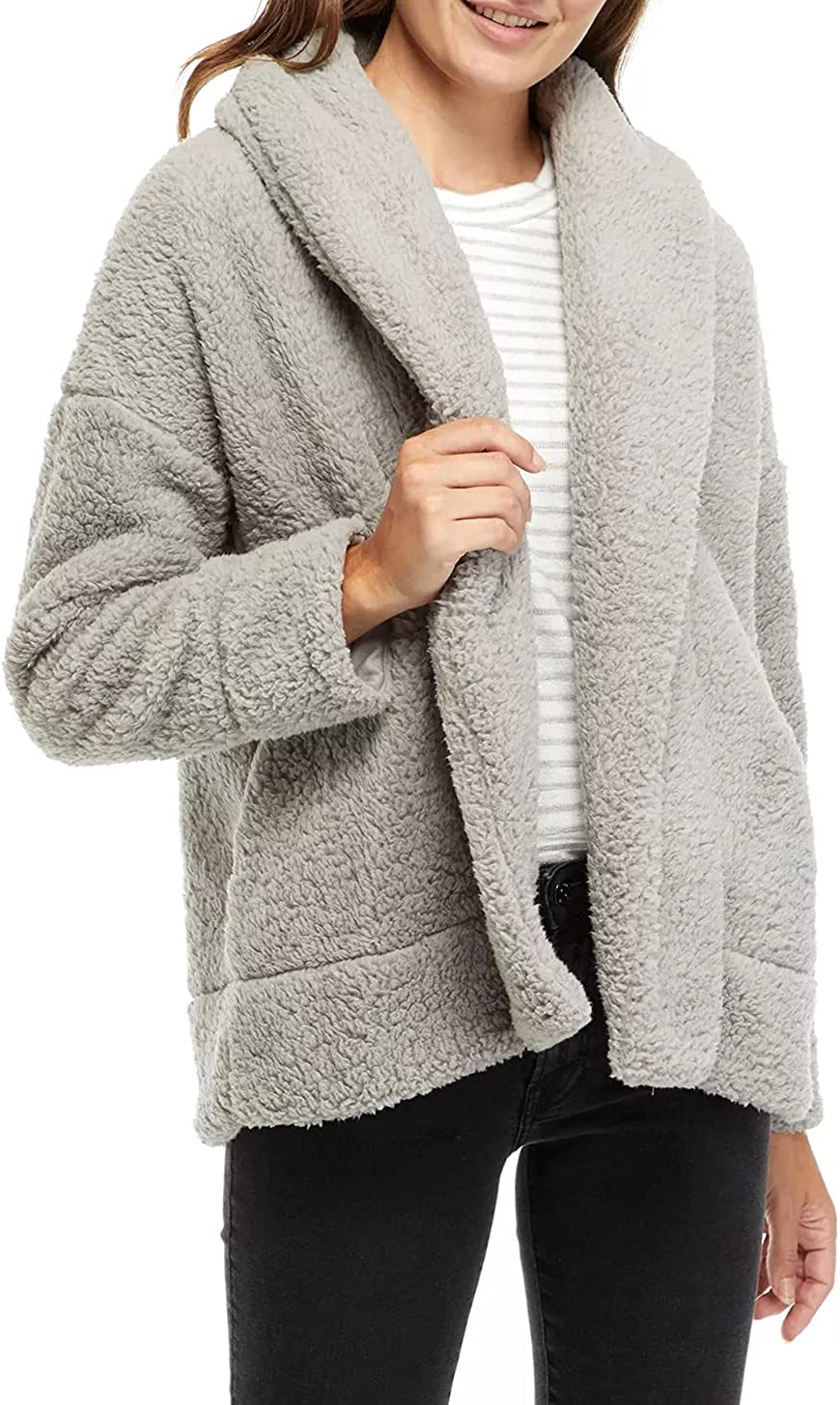 Women's Fleece Fuzzy Faux Open Front Lightweight Coat Solid Color Lapel Jacket Without Buttons