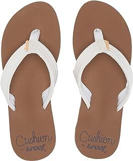 Womens Star Cushion Breeze Cloud White Brown Flip Flops Sandals Size