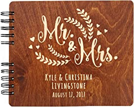 Personalized Wedding Guest Book Mr Mrs Wooden Rustic Vintage Bridal Black Mahogany Oak or Cocoa Unique Wood Hardcover Finish Options