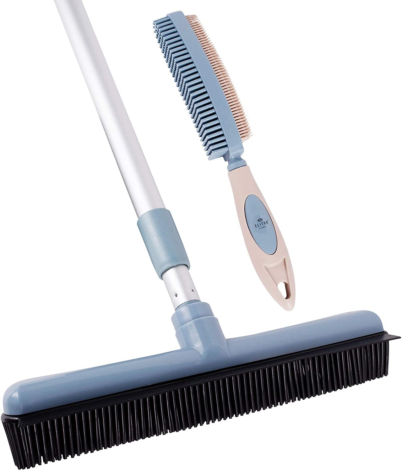 Pet Hair Removal Rubber Broom with Built in Window Shower Squeegee, 2 in 1 Floor Brush, Carpet Cleaner, 29 to 52 inch Adjustable Handle, Includes One Rubber Hair Brush by ELITRA HOME