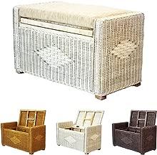 Bruno Handmade 26 Inch Rattan Wicker Chest Storage Trunk Organizer Ottoman W/cushion White Wash