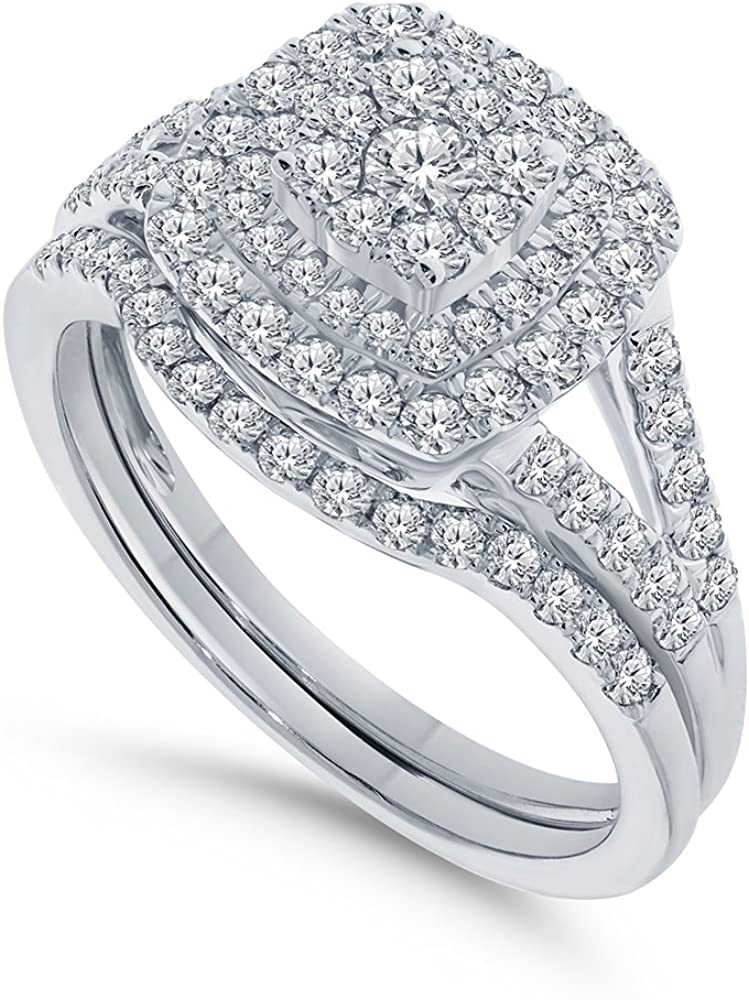 10K White Gold 1 Carat Real Diamond Engagement Ring Wedding Band Bridal Set Fine Diamond Jewelry (1 Carat, H-I Color, I1-SI2 Clarity), Size 7