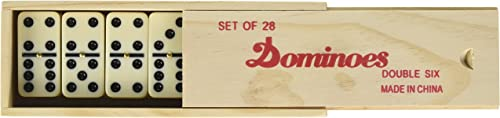 Double Six Professional Dominoes with Brass Spinner in boisen Case 28 Piece