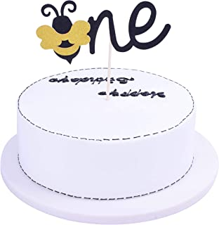 SHAMI Bumble Bee Cake Topper- One Cake Topper for Bumble Bee Gender Reveal Baby Shower Birthday Party Supplies Decorations First Birthday Cupcake Topper Handmade