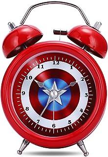 comprar comparacion Lafocuse 8cm Despertador Infantil Captain Analógico con Doble Campana y Luz de Noche Reloj de Mesa Silencioso Rojo