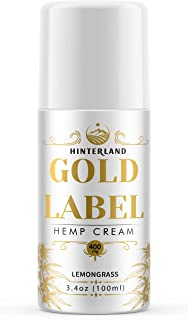 Hinterland Hemp Soothing Relief Cream for Sore Muscles, Joint, Back, Shoulder, Neck - 400mg Extract - Lemongrass Scent - M...
