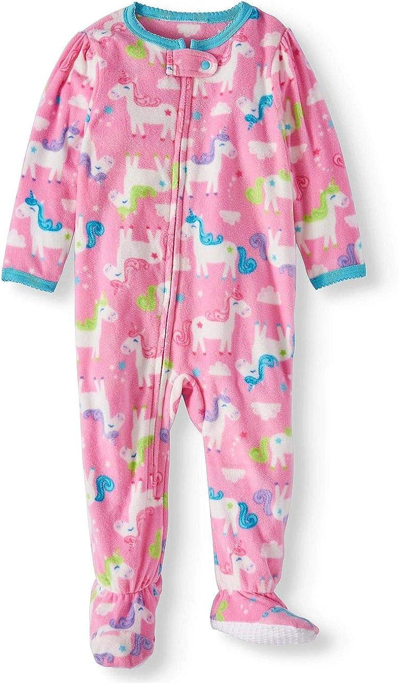 Toddler Girl's Pink Fleece Unicorn Footed Blanket Pajama Sleeper