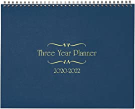 "3-Year Calendar Planner, 2020-2022 Monthly Schedule Organizer Flip Calendar Diary with Tabs, Spiral Bound Top, Blue, 8 ½"" Wide x 11"" Long"