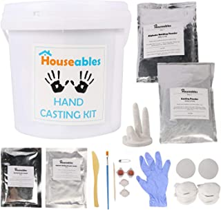 Houseables Hand Casting Kit, DIY Plaster Molding, Large, Crafts for Couples, Children, Babies, Family, Skin Safe Alginate Powder, Handprint Sculpture, Anniversary Gift, Baby Footprint, Keepsake Maker