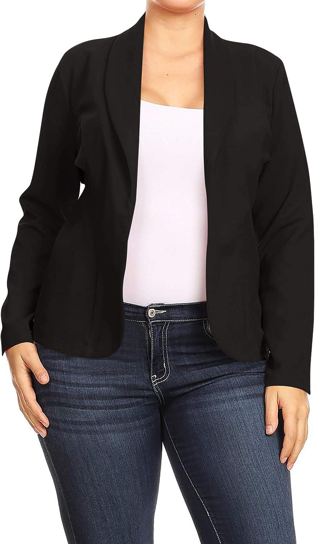 Women's Plus Size Casual Long Sleeves Open Front Office Work Wear Solid Blazer Jacket