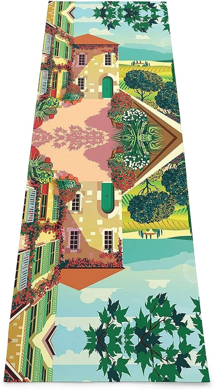 FAAXDIQ Tuscan Tranquility Print Yoga Mat - Premium 5mm Print Ex