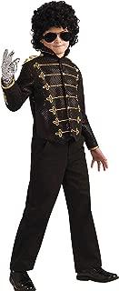 Michael Jackson Costume, Child's Deluxe Military Jacket, Black Costume -Large