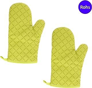 YINETTECH - Par de guantes de silicona y algodón para horno, resistentes al calor, para barbacoa, cocina, hornear, hornear, hornear