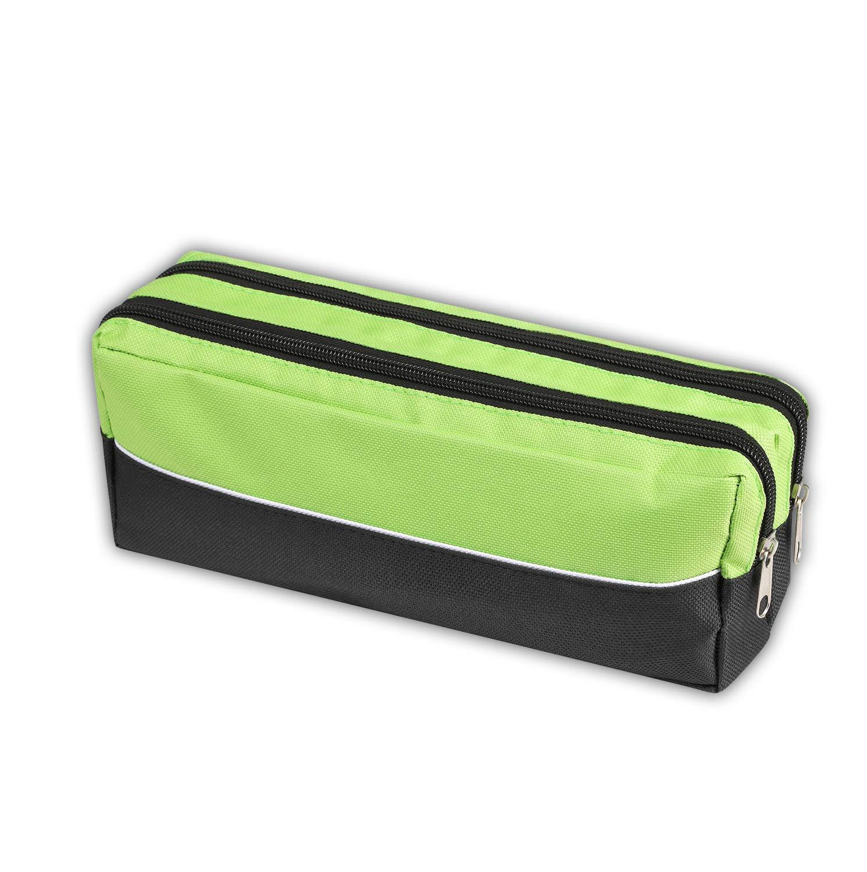Arpan - Estuche de tela con cremallera doble, tamaño extragrande, ideal para la escuela, universidad, maquillaje, 1 unidad (verde lima): Amazon.es: Oficina y papelería