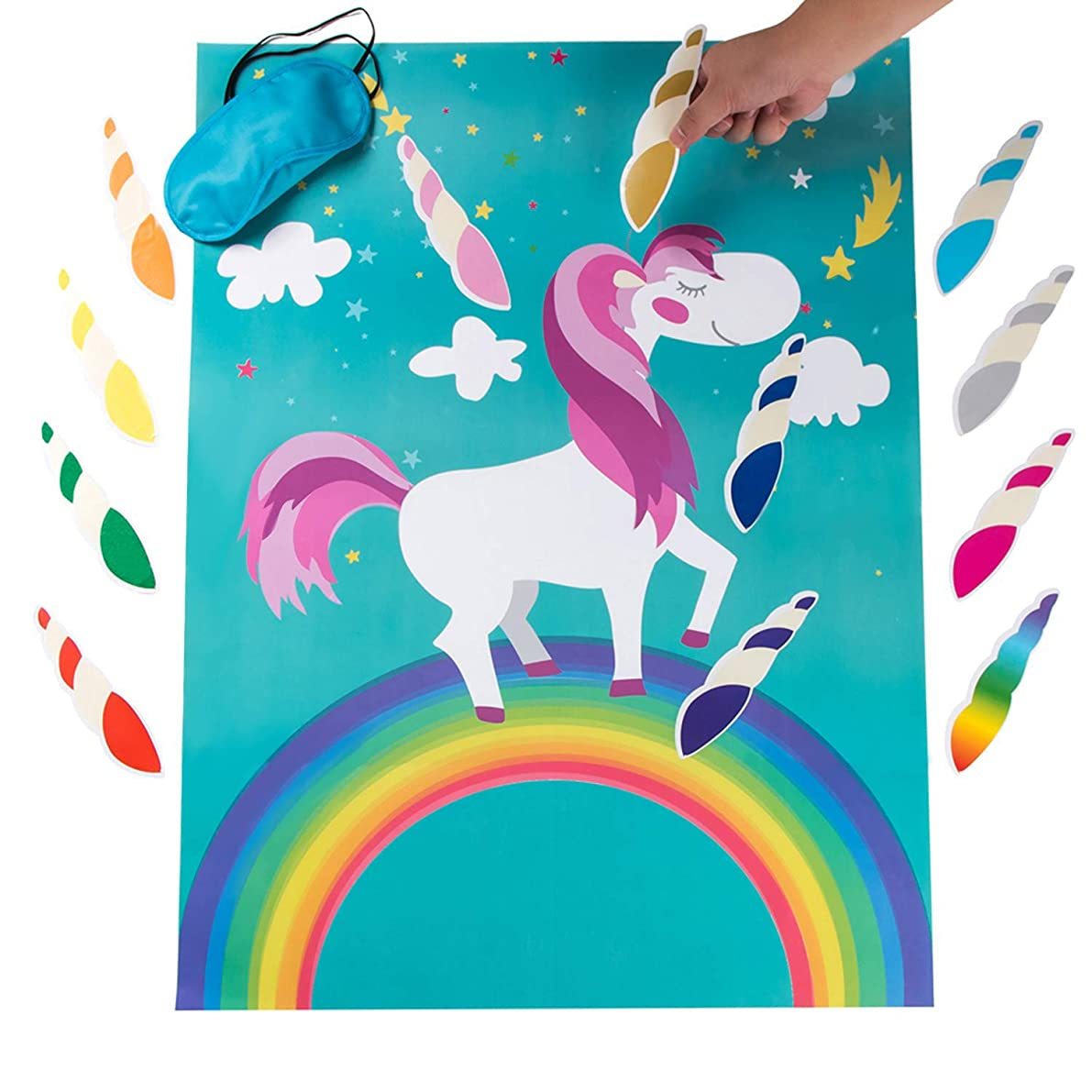 MISS FANTASY Pin The Horn on The Unicorn Birthday Party Favor Games Kids Party Supplies Unicorn Gifts for Girls Game Include a Large Poster 24 Reusable Sticker Horns Good for Big Parties