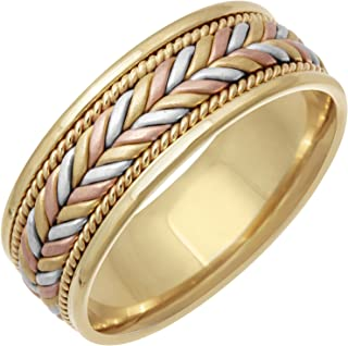 14K Tri Color Gold Braided Fern Style Men's Comfort Fit Wedding Band (7mm)