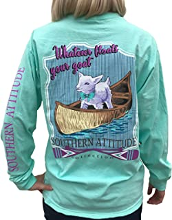 Southern Attitude Whatever Floats Your Goat Seafoam Green Long Sleeve Women's Shirt