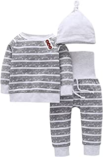 ベビー 服 ホーム ウェア 長袖 キッズ パジャマ ストライプ 3点セット フード付き 腹巻付き 女の子 男の子 子供用 80cm