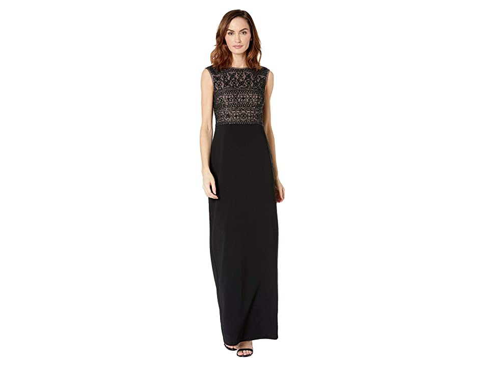 Adrianna Papell Beaded Two-Toned Evening Gown (Black/Nude) Women