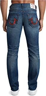 True Religion Mens Slim Plaid Insert Big T Jeans in School Yard Wash