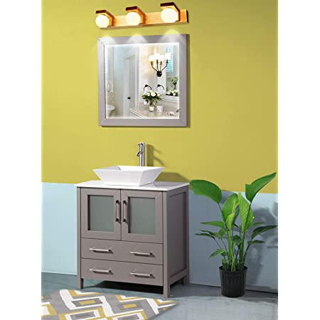 Vanity Art 30 Inch Single Sink Bathroom Vanity Set 1 Shelf 2 Drawers Quartz Top And Ceramic Vessel Sink Bathroom Cabinet With Free Mirror Va3130 G Kitchen Dining