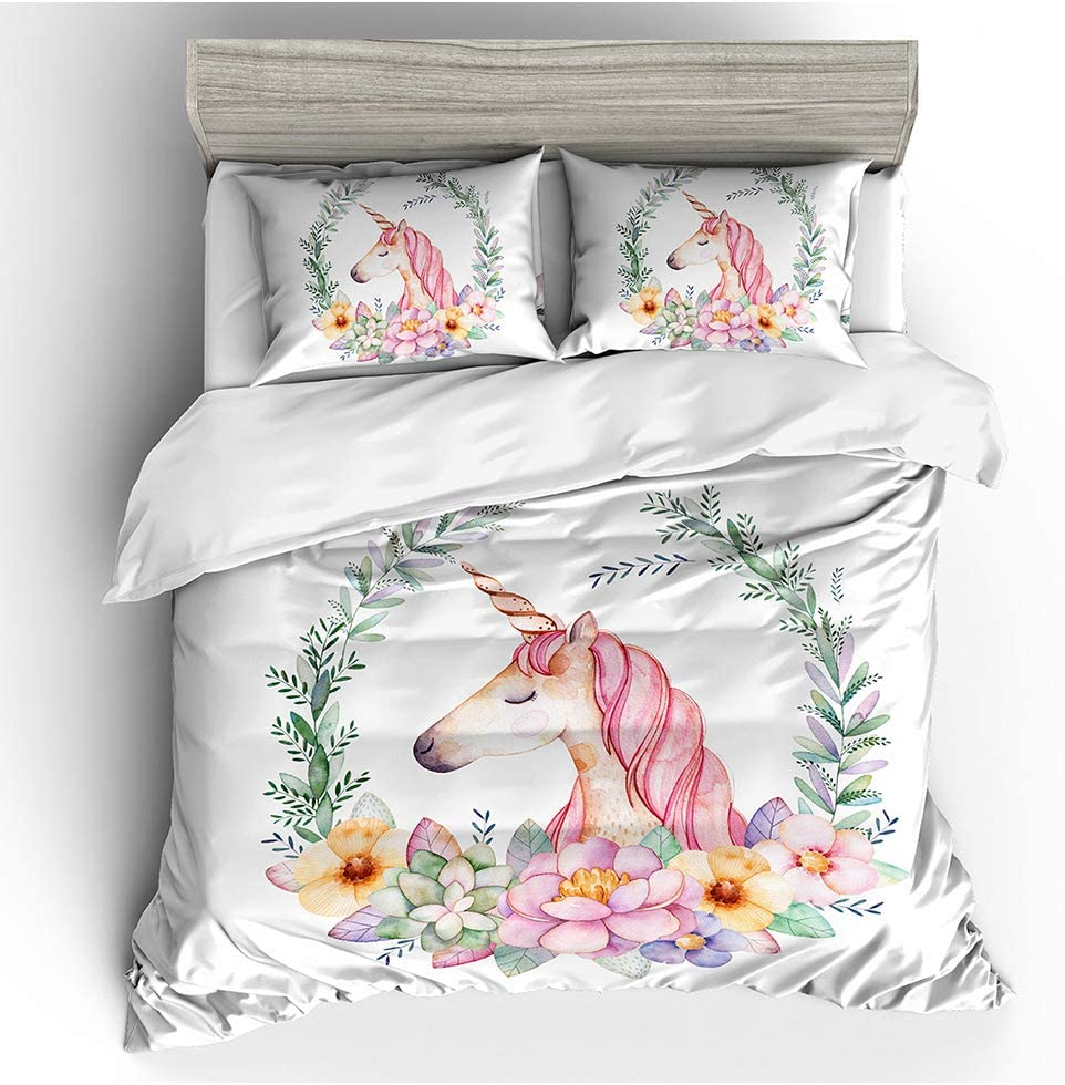 Koongso Girls Flower Spring new work one after another Circle Unicorn Duvet Cover - Finally popular brand Sets Full Size