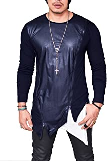 Mens Hipster T Shirt Long Sleeves Ripped Hole Hemline Hip Hop Tees Top