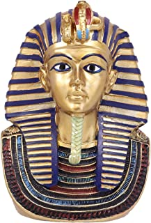 Ebros Small Golden Cobra and Vulture Nemes Mask of Pharaoh Statue Egyptian Dynasty King TUT Bust Figurine with Hieroglyphs 4.25