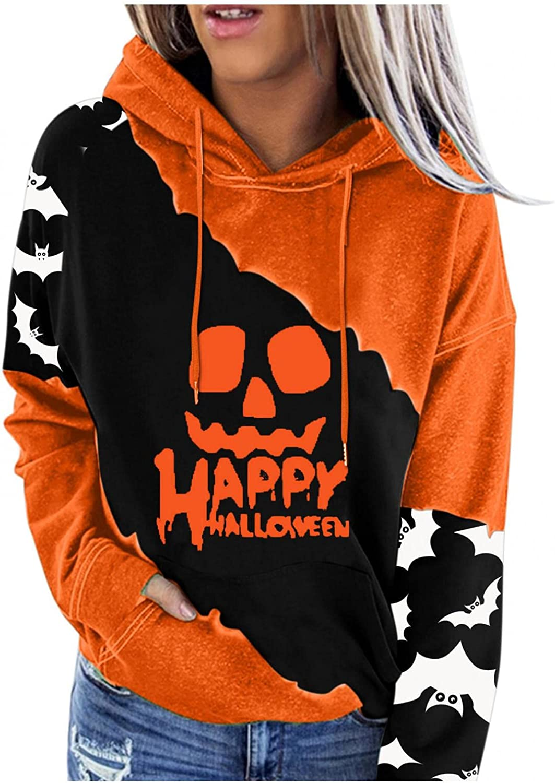 Womens Hoodies, Womens Halloween Sweatshirt Casual Long Sleeve Drawstring Pumpkin Face Pullover Cute Tops Blouse