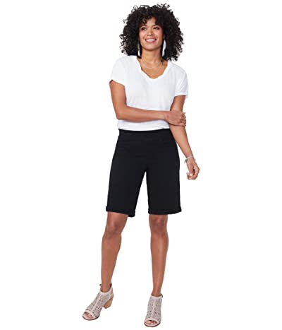 NYDJ 9 Pull-On Shorts with Roll Cuffs (Black) Women