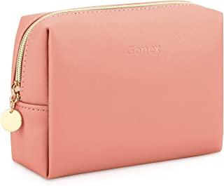 Gonex Travel Makeup Bag Small Leather Cosmetic Pouch Waterproof Toiletry Bag Women Portable Daily Storage Organizer Pink