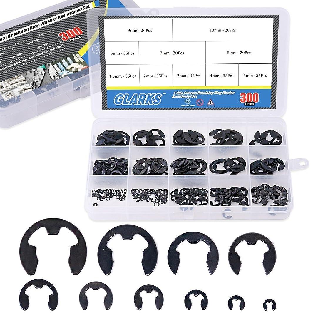 Glarks 300-Pieces 10 Size Black Alloy Steel E-Clip External Retaining Ring Washer Assortment Set