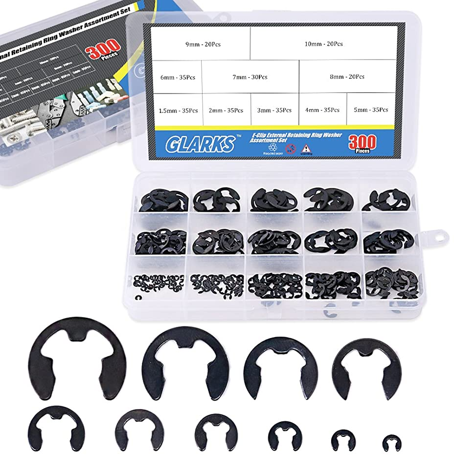 Glarks 300-Pieces 10 Size Black Alloy Steel E-Clip External Retaining Ring Washer Assortment Set eajtay33063