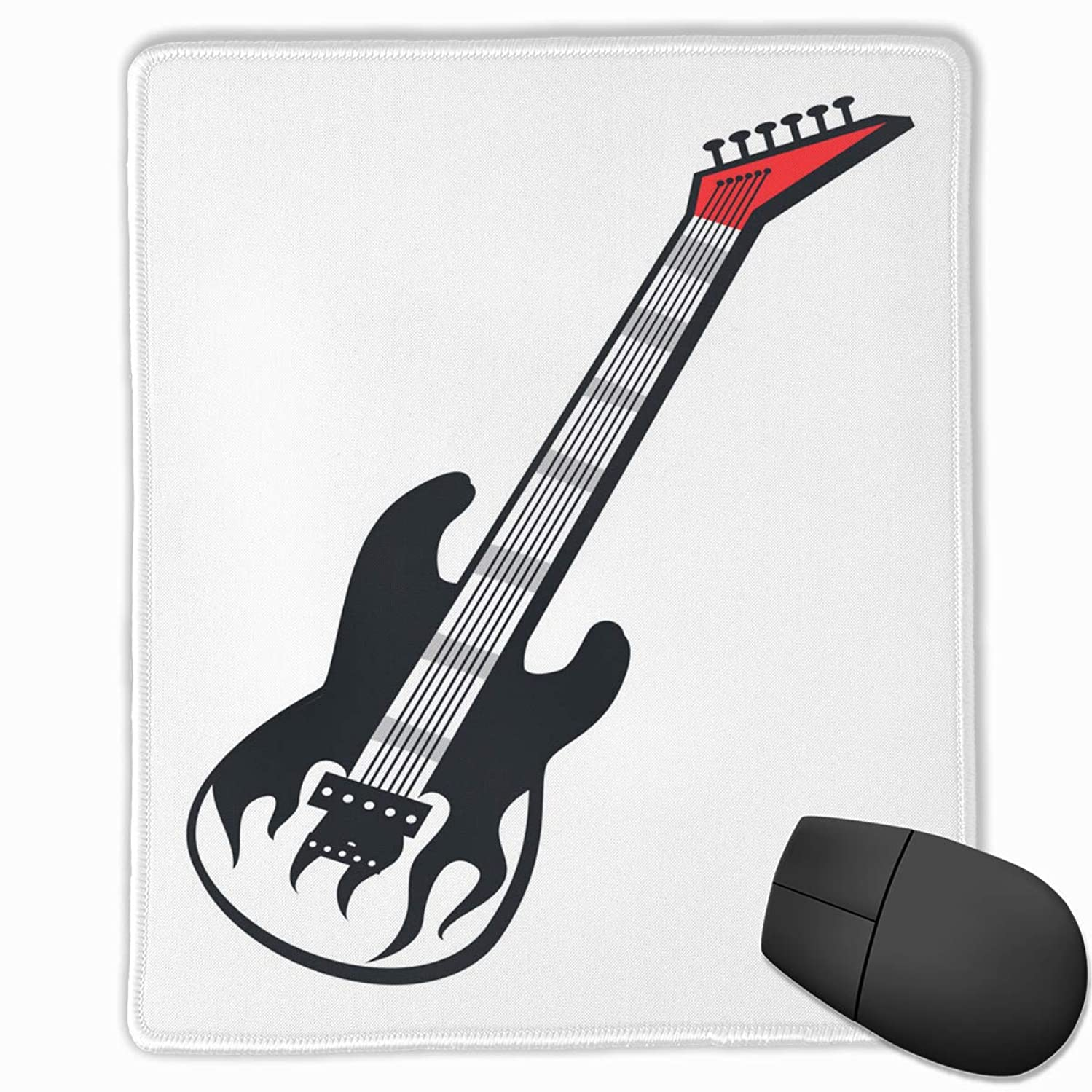 Padida Mouse Pad Electric Guitar White Flame Tongue Mousepad Non-Slip Rubber Gaming Mouse Pad Rectangle Mouse Pads for Computers Laptop