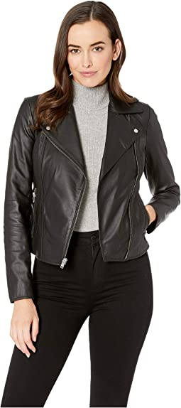 Faith Feather Leather Asymmetric Zip Leather Jacket