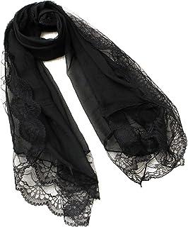 SODIAL(R) Femme Echarpes Mousseline de Soie Dentelle Foulard Wrap Echarpe Noir