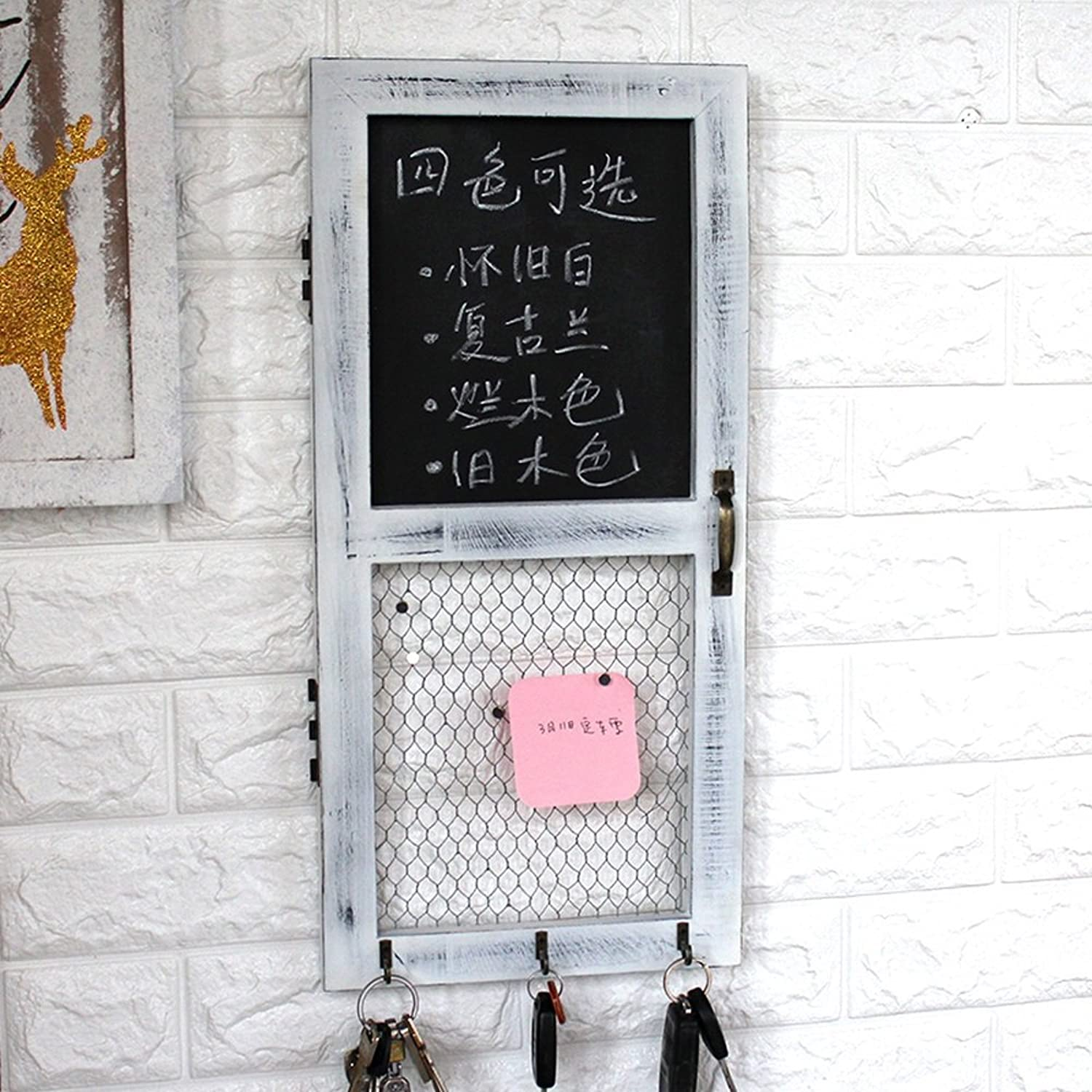 European Retro Vintage Wall-mounted Fake Windows And Doors Blackboard Sticky Notes Key Hooks Coffee Shop Bar Creative Decorations 24  1.8  51cm ( color   D )