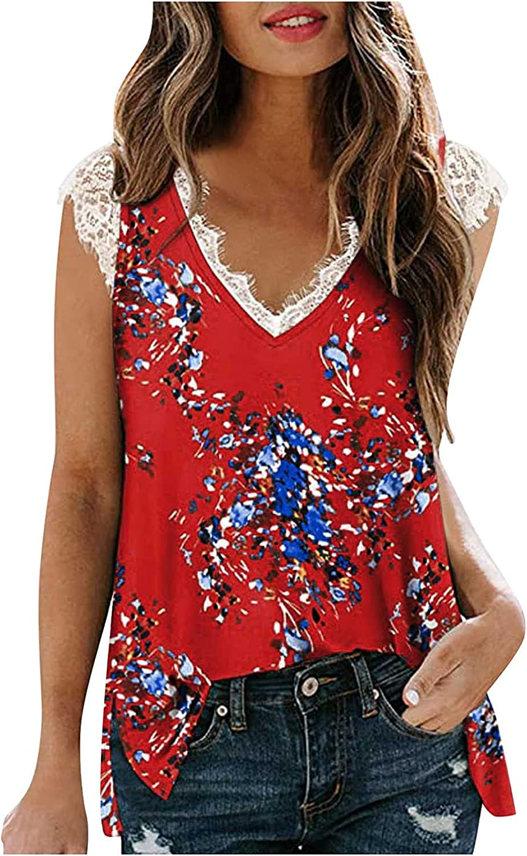 JPLZi Women's V Neck Lace Tank Tops Summer Casual Sleeveless Shirts Side Split