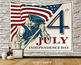 AngelDOU 4th of July Decor Tapestries for Bedroom Wall Hanging Watercolor Stylized American Soldiers Happy Independence Day War Picture Polyester Home Improvement.W78.7xL59(inch)