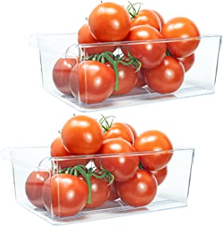 QILZO® Lot de 2 Boîtes de Rangement Réfrigérateur et congélateur Organisateur de Nourriture avec poignée 28,5x19x10 cm, Tr...
