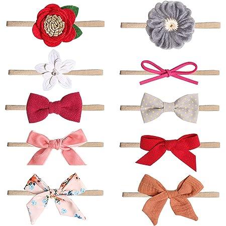 COUXILY bebé-niñas diademas de algodón suave arco anudada Hairband Headwrap Elastic Bow Turbante aros de pelo para niños bebés Set de regalo para niños