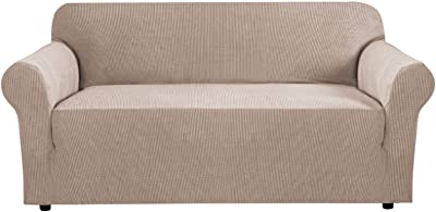 PrimeBeau 1-Piece Sofa Size Knit Spandex L-Shaped Slipcover Attached Elastic Bottom Beige