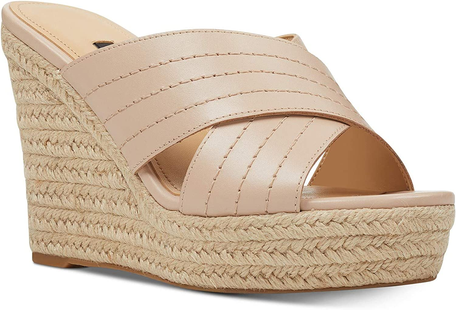 NINE WEST Womens Jeranna Fabric Toe Directly managed store Casual Sandals Open Platform Denver Mall
