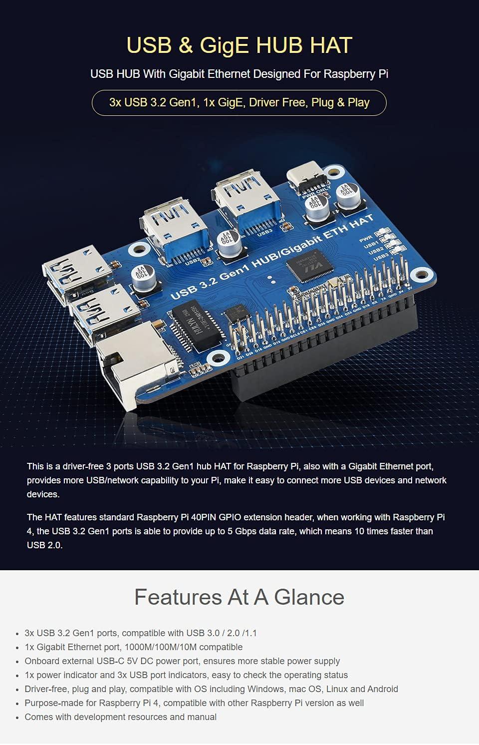 Waveshare USB 3.2 Gen1 and Gigabit Ethernet HUB HAT for Raspberry Pi 3X USB 3.2 Gen1 1x Gigabit Ethernet Driver-Free Plug & Play