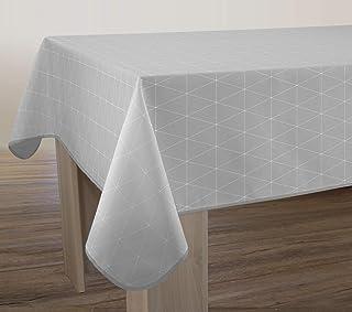 Le linge de Jules Nappe Anti-Taches Geo Gris - Taille : Rectangle 150x300 cm