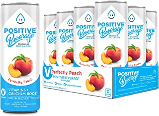 Positive Beverage Sparking Beverage Perfectly Peach Made with Real Fruit Healthy Energy and Fat Burning Drink | Zero Calories | Calcium Boost | No Sugar Added | Non-GMO | 12 Cans, 12 Fluid Ounce